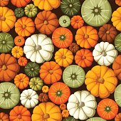 Vector seamless pattern with colorful pumpkins.