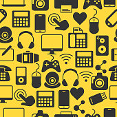 Seamless pattern with grey silhouette icons. Background with computers and accessories. Device design wallpaper. Vector flat illustration.