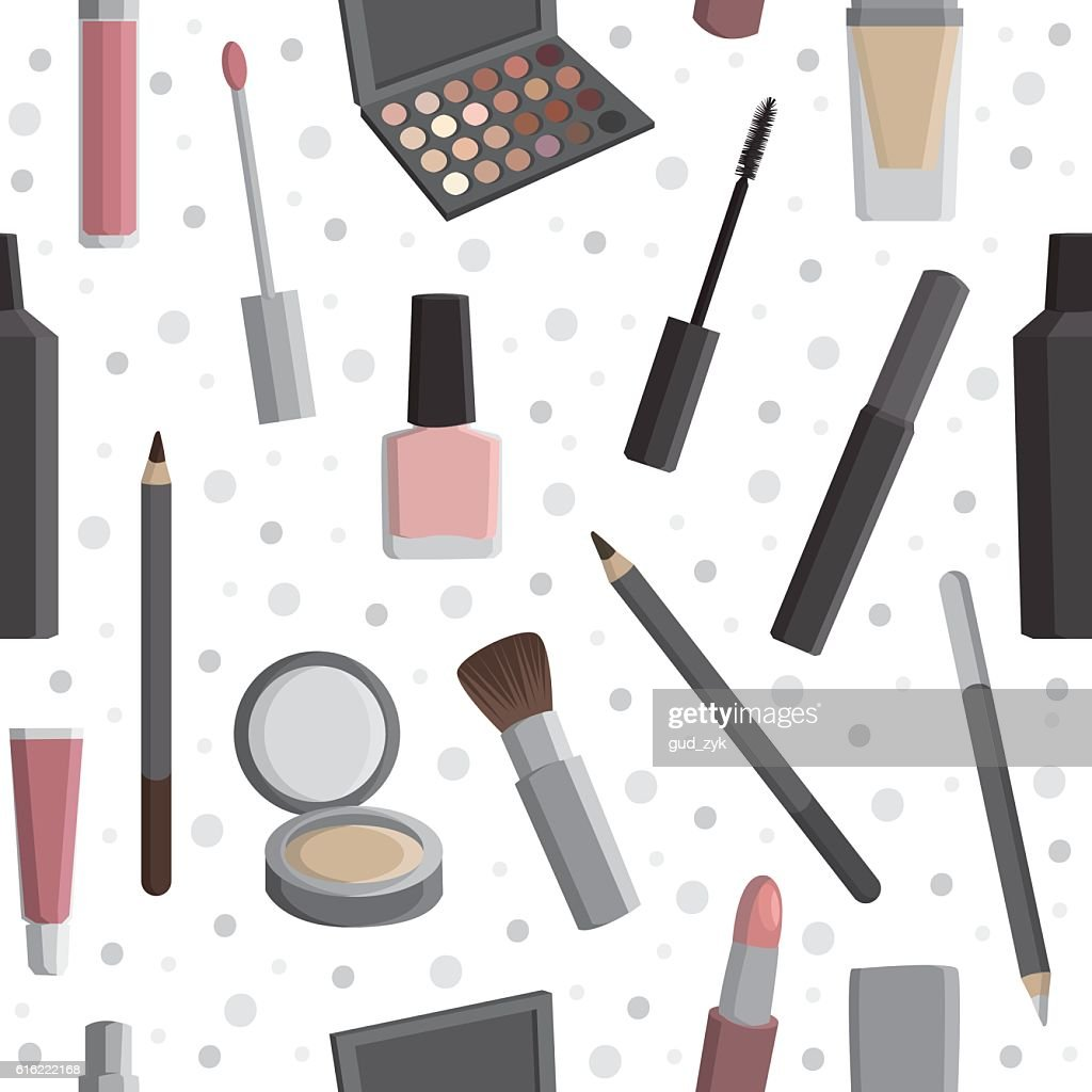 Seamless pattern with cosmetics. : Arte vettoriale