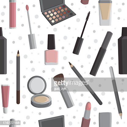 Seamless pattern with cosmetics. : Clipart vectoriel