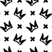 Seamless pattern with crowns and cross symbols isolated on white background. Rough brush painted shapes. Ink street-style abstract grunge illustration.