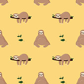 Seamless pattern with cute jungle sloths on green background, vector illustration