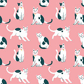 Seamless pattern with cute kittens. Creative childish texture. Vector Illustration.