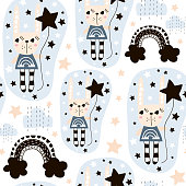 Seamless pattern with cute rabbit girl . Creative childish background. Perfect for kids apparel,fabric, textile, nursery decoration,wrapping paper.Vector Illustration