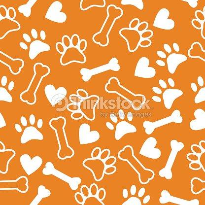 sem costura padrão com cachorro pata imprimir osso e corações arte