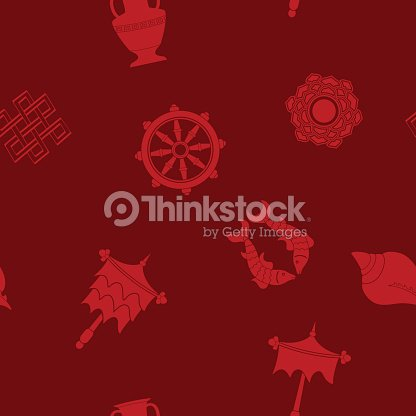 Seamless Pattern With Eight Auspicious Symbols Of Buddhism Vector