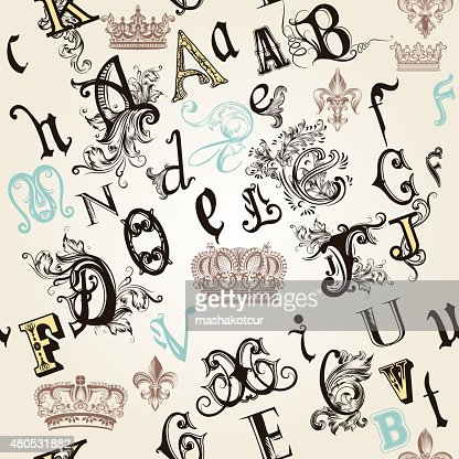 seamless pattern with English ABC in retro style decorated : Vectorkunst