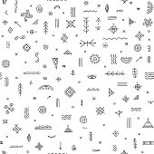 Vector seamless pattern with ethnic tribal boho trendy symbols and ornaments. Can be printed and used as wrapping paper, wallpaper, textile, fabric, etc.