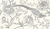 Peonies and pheasants. Floral exotic vintage seamless pattern with flowers and birds. White and black. Oriental style. Vector illustration art. For design textiles, wrapping paper, wallpaper, interior