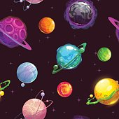 Seamless pattern with fantasy cartoon planets on the space background, vector cosmos texture