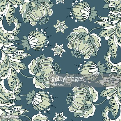 seamless pattern with flowers in indian style : Vector Art