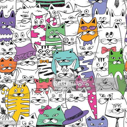 Seamless Pattern With Funny Cats. : Vector Art
