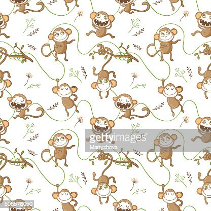 Seamless pattern with funny monkeys. : Vector Art