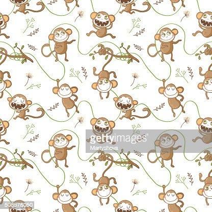 Nahtlose Musterung mit lustigen Affen. : Vektorgrafik