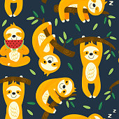 seamless pattern with funny sloths - vector illustration, eps
