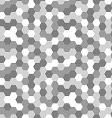 Seamless geometric gray pattern with hexagons, tile, mosaic