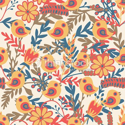 Seamless pattern with hand drawn birds and blooming flowers