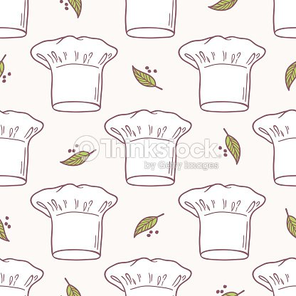 06fed6c21a1 Seamless Pattern With Hand Drawn Chef Hat Kitchen Background Vector ...