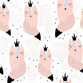Seamless pattern with hand drawn foxes princess. Creative scandinavian modern texture for fabric, wrapping, textile, wallpaper, apparel. Vector illustration