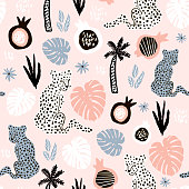 Seamless pattern with hand drawn leopards on pink background. Creative summer modern texture for fabric, wrapping, textile, wallpaper, apparel. Vector illustration
