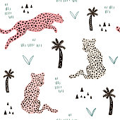 Seamless pattern with hand drawn leopards. Creative modern texture for fabric, wrapping, textile, wallpaper, apparel. Vector illustration