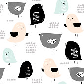 Seamless pattern with hand drawn tiny birds. Trendy scandinavian vector background. Perfect for kids apparel,fabric, textile, nursery decoration,wrapping paper