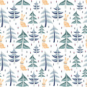 Decorative seamless pattern in folk style with rabbit. Colorful vector background.