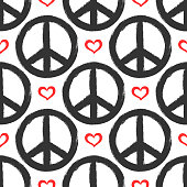 Seamless pattern with hearts and signs of peace. Grunge, graffiti, sketch, watercolor, paint. Endless vector illustration.