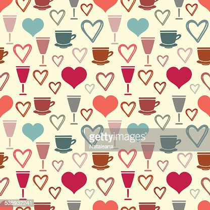 Seamless pattern with hearts, tea cups, glass : Vector Art