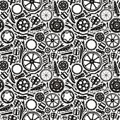 Seamless pattern with image of bicycle details. Black print on white background