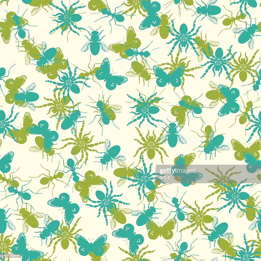 Seamless pattern with insects silhouettes : Vector Art