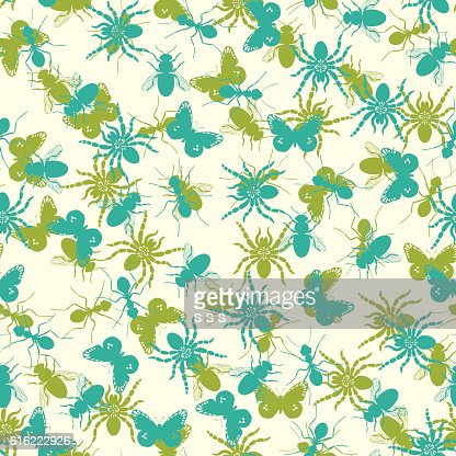 Seamless pattern with insects silhouettes : Arte vettoriale