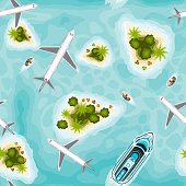 Seamless pattern with tropical islands and planes, top view. Time to travel. Sun, sea, island, sand yacht airplanes palms Vector illustration