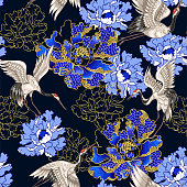 Seamless pattern with Japanese white cranes and peony