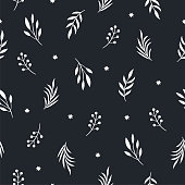 seamless pattern with leaves on a black background
