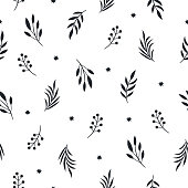 seamless pattern with leaves on a white  background