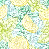 Seamless pattern with lemon and mint. Summer background. Hand drawn vector illustration.