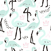 Seamless pattern with mint flamingo,crowns and hand drawn shapes. Creative kids texture for fabric, wrapping, textile, wallpaper, apparel. Vector illustration
