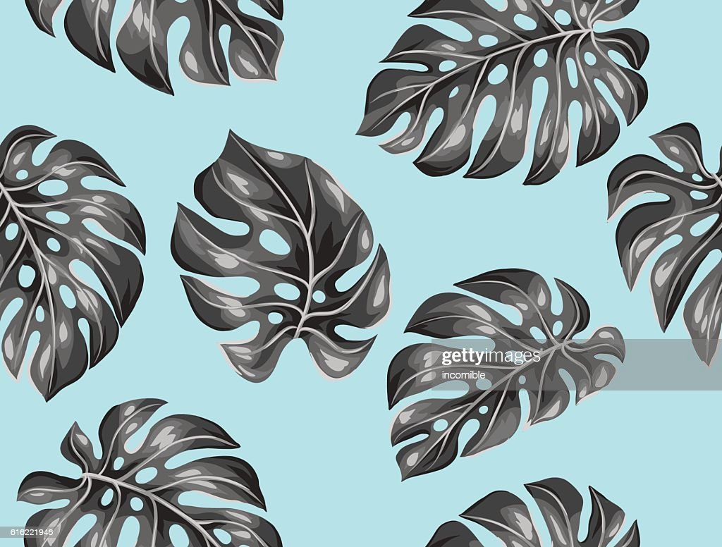 Seamless pattern with monstera leaves. Decorative image of tropical foliage : Vector Art