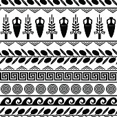 Seamless pattern with olives, wheat, amphora, and greek symbols. White and black vector background