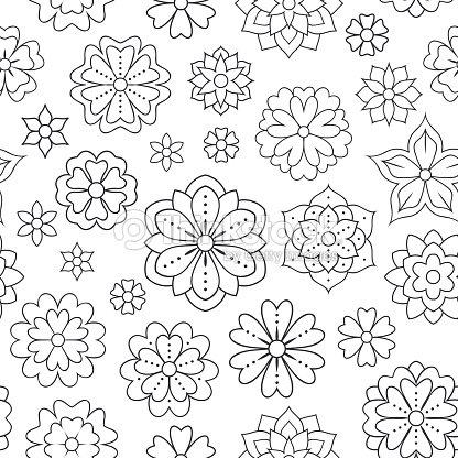 Patrón Transparente Con Flores De Contorno Para Colorear Libro ...