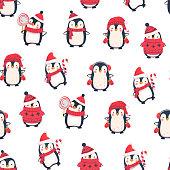 Seamless pattern with penguins. Cute penguin cartoon illustration. Animals pattern