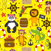seamless pattern with pirates animals on yellow background - vector illustration, eps