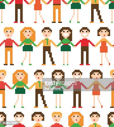 Seamless pattern with pixel people. : Vector Art