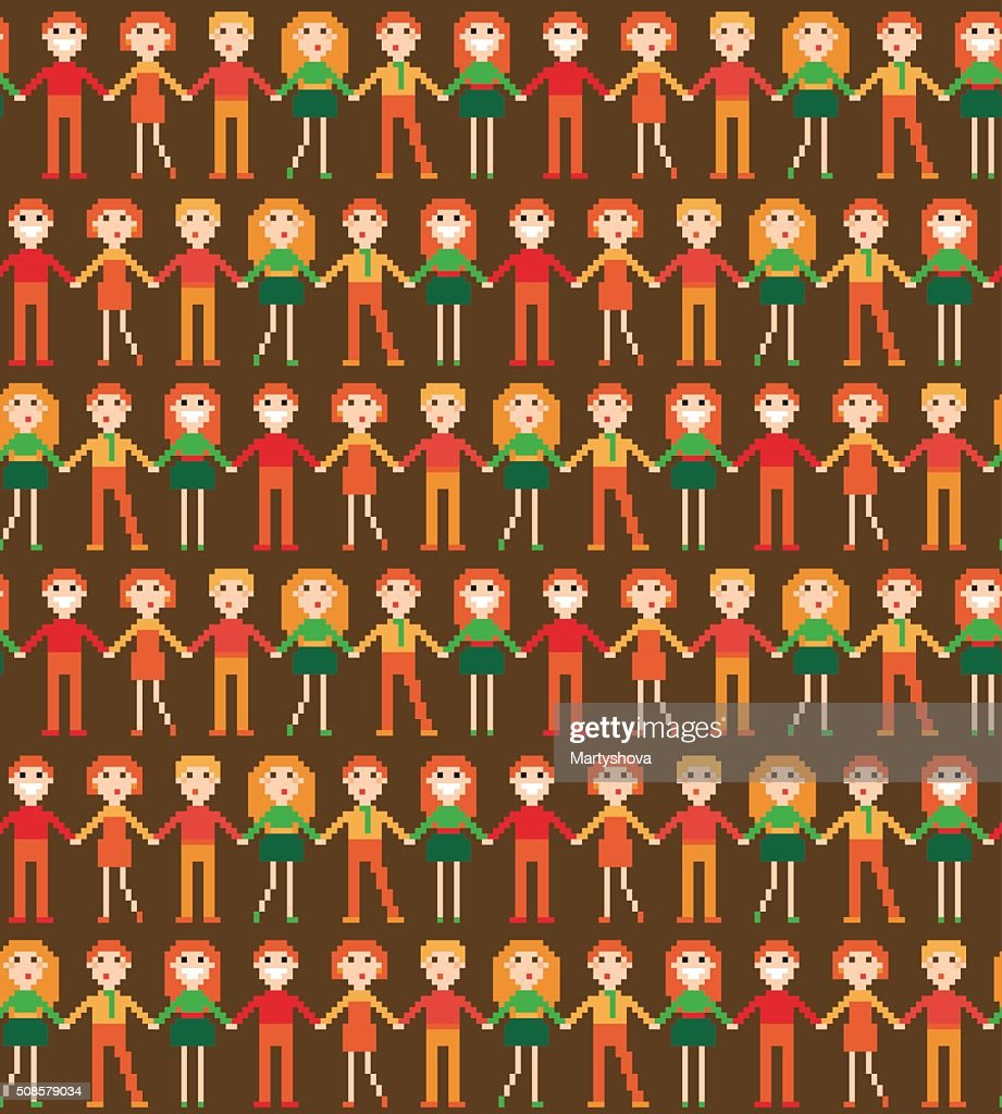 Seamless pattern with pixel people. : Vektorgrafik
