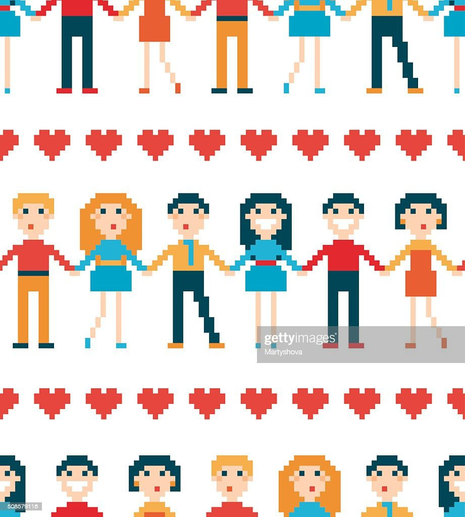 Seamless pattern with pixel people. : Vectorkunst