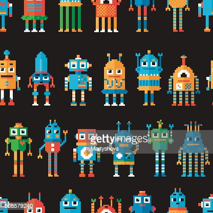 Seamless pattern with pixel robots. : Vectorkunst