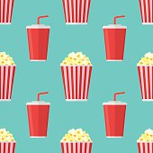Seamless pattern with popcorn and soda takeaway on teal background. Vector texture.