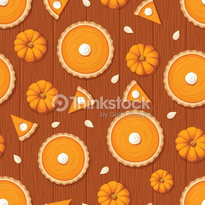 seamless pattern with pumpkin pies and pumpkins on wooden background