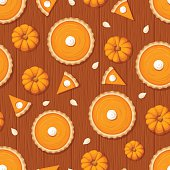 Vector seamless pattern with pumpkin pies, pumpkins and seeds on a wooden background.